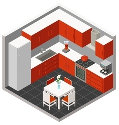 isometric kitchen vector image vector image