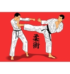 Ju-jutsu fighters vector