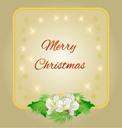 Merry Christmas decoration gold frame with flower vector image vector image