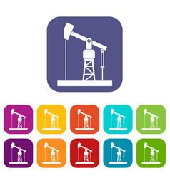 oil pump icons set vector image
