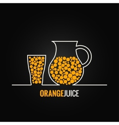 orange juice glass bottle line design background vector image