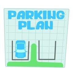 Parking plan icon cartoon style vector