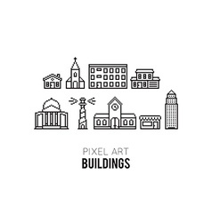 Pixel Buildings vector image