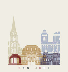 san jose skyline poster vector image vector image