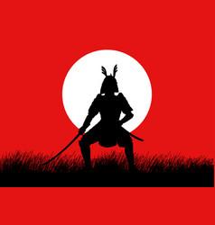 silhouette of a samurai vector image vector image