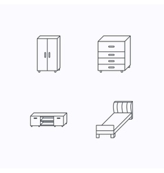 Single bed tv table and cupboard icons vector