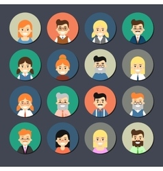 Smiling cartoon people icons set vector image vector image