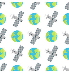 space landing planets spaceship seamless pattern vector image