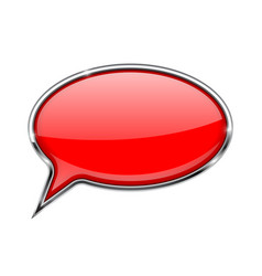 speech bubble red 3d icon with chrome frame vector image vector image
