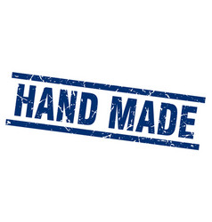 Square grunge blue hand made stamp vector