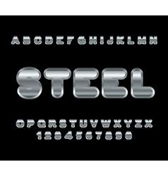 Steel font metal alphabet metallic shimmering vector