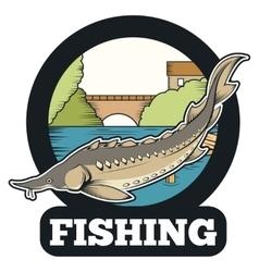 Sturgeon fishing banner vector