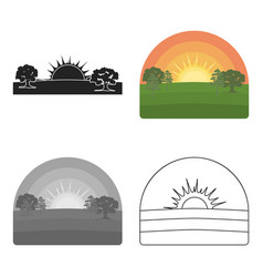 sunrise icon in cartoon style isolated on white vector image vector image