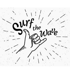 Surf the wave retro black and white vector image