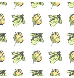 Sweet pepper and lettuce leaves seamless pattern vector