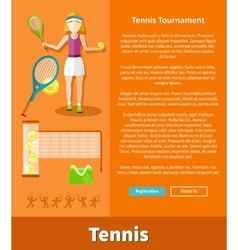 Tennis and tournament web interface page vector image