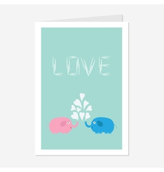 Pink and blue elephants with heart fountain love vector