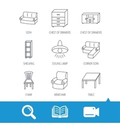 Corner sofa table and armchair icons vector