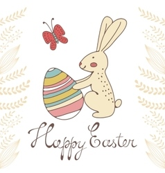 Cute easter card with easter bunny holding egg vector
