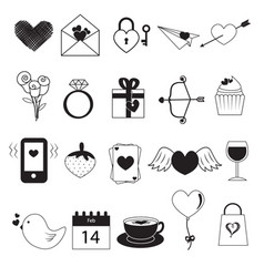 set of valentine day icons on white background vector image