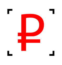 Ruble sign red icon inside black focus vector