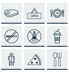 Set of 9 restaurant icons includes no drinking vector