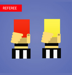 referee hand with red and vector image