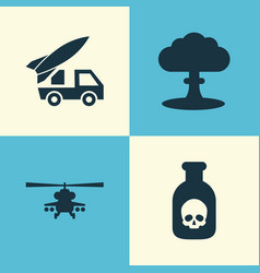 combat icons set collection of ordnance atom vector image