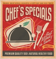 Retro poster template for best restaurant in town vector image