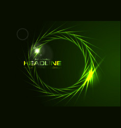 Dark green neon effect rings logo background vector