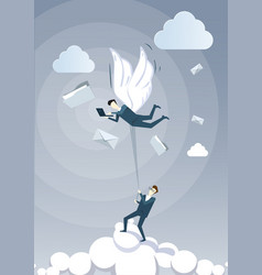Business man hold colleague with wings flying in vector