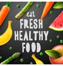 Healthy food concept with sample text vector