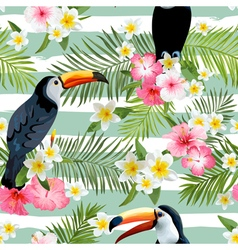 Toucan bird background retro pattern vector