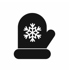 Mitten with white snowflake icon simple style vector