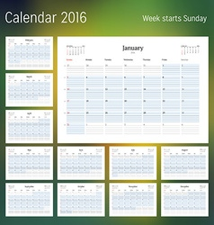 Calendar for 2016 year planner template design vector