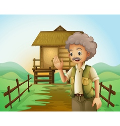 An old man in front of the native house at the vector