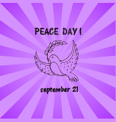 bird with leaf flying silhouette hand drawn sketch vector image