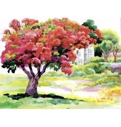 Blooming watercolor spring tree in garden vector