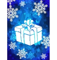 Christmas greeting card with snowflakes and gift vector