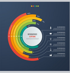 Circle informative infographic design 6 options vector