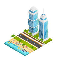 City and beach concept vector
