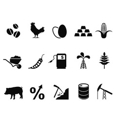 commodities trading market icons set vector image vector image