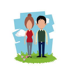 Couple relation together field background vector