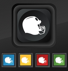 Football helmet icon symbol set of five colorful vector
