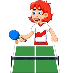 funny girl cartoon playing table tennis vector image vector image