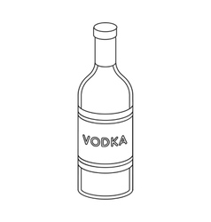 Glass bottle of vodka icon in outline style vector image