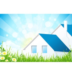 Green Grass with House vector image vector image