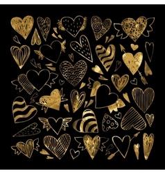 Hand drawn set gold tribal hearts vector
