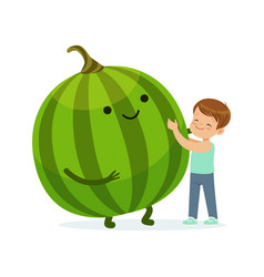 happy boy having fun with fresh smiling watermelon vector image vector image