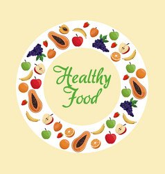 Healthy food fruit poster vector